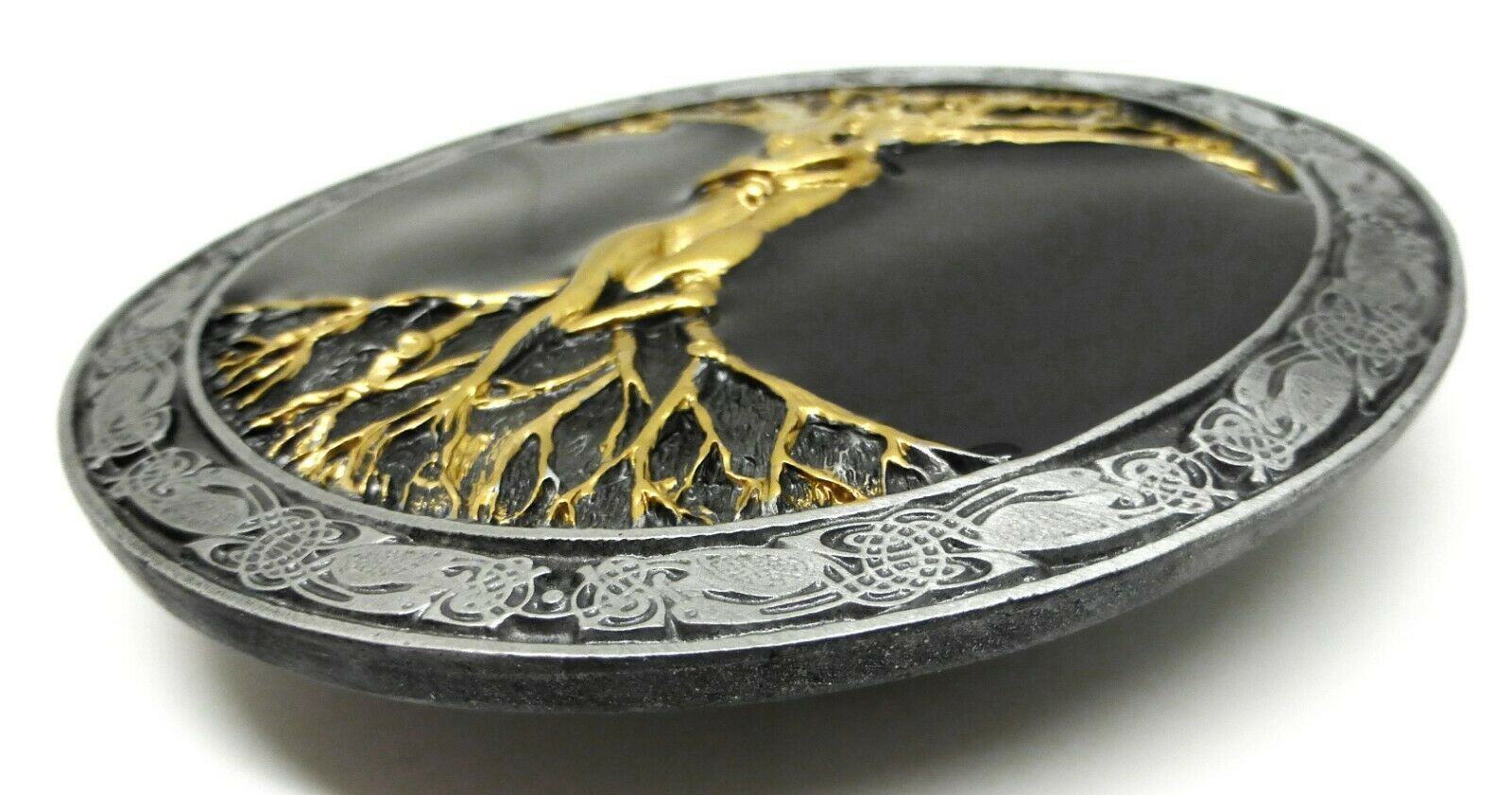 The Tree Of Life Belt Buckle Artistic Black & Gold Design Authentic Bergamot