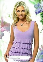 Blouse Cocktail Top Stretch Fashion Super Light Sleeveless Made In Europe S M L