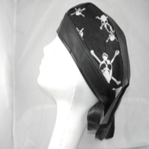 Black Zandana Cotton Print Leatherette Bandana Skull /& Crossbones /& Flames