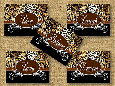Cheetah Leopard Print Swirly Oval Live Laugh Love Dream Believe Wall Art Decor