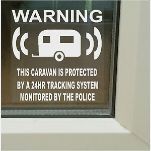 Details about Caravan Alarm-Police Monitored GPS Tracking Warning Security  Stickers-87mm Signs