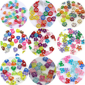 Craft-DIY-Sparkling-Silver-Dots-FLower-Acrylic-Various-Shape-Spacer-Beads