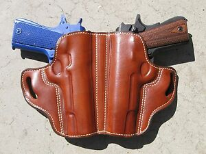 Details about BN Brown Plain Leather Colt 1911 FS 45ACP Dual Auto SOB  Concealment Belt Holster