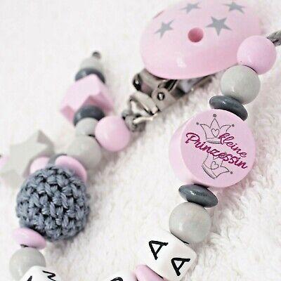 ★ Schnullerkette mit Namen ☆ Mädchen ★rosa grau Geschenk Geburt Nuckelkette ★