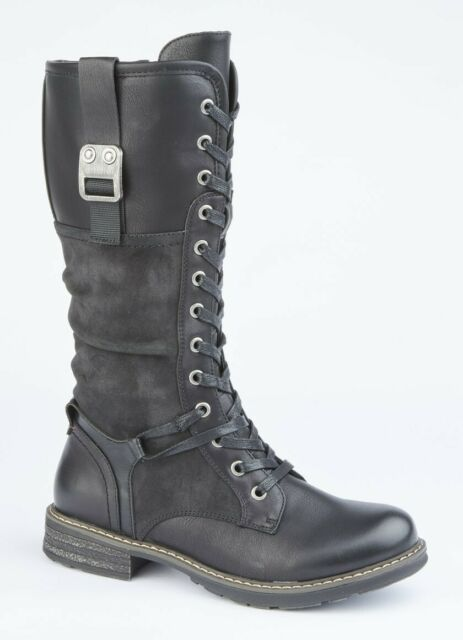 Cipriata ROSSA Ladies Womens Inside Zip Lace Up Mid Calf Boots Black//Floral