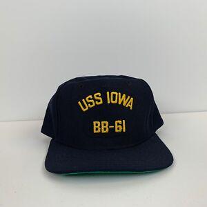 3df71c09929 Details about New Era USS Iowa BB-61 Mens Snapback Baseball Cap Vintage 80s United  States Navy