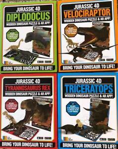 Lot-de-4-Jurassique-4D-en-bois-Dinosaure-Puzzles-avec-la-realite-augmentee-App