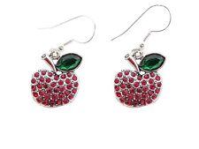 Apple Crystal Fashion Earrings Jewelry Teacher Appreciation Gift