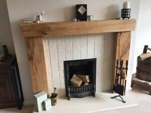 Solid oak beam fire surround wooden fireplace surround mantel image is loading solid oak beam fire surround wooden fireplace surround solutioingenieria Gallery