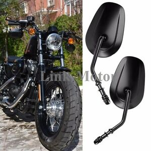 Pair Oval Motorcycle Parts Rearview Custom Mirrors For Harley Iron 883 2009 2014 Ebay