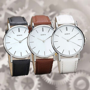 WOMENS-FASHION-DRESS-WATCH-Ladies-Faux-Leather-Silver-Gold-Quartz-Analog-104