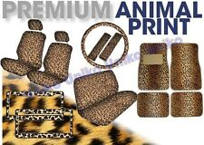 Leopard Print 17pc Tan Brown Car Seat Covers Bench Floor Mats License CS2