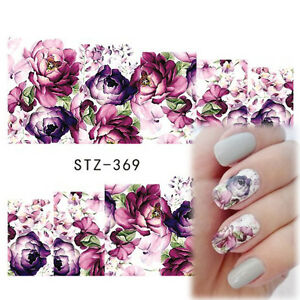 Nail-Art-Water-Decals-Stickers-Transfers-Deep-Purple-Flowers-Gel-Polish-369