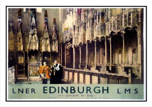 Edinburgh 4 Railway Old Advert Poster Scotland Photo Cathedral Picture Print