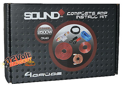 4 Gauge Amp Kit Amplifier Install Wiring Complete 4 Ga Installation Cables 2500W