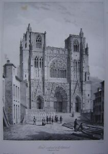 Lithographie-Portail-occidental-de-la-Cathedrale-Saint-Maurice-de-VIENNE-c1840
