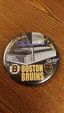 NHL BOSTON BRUINS INAUGURAL GAME 10/7/95 BUTTON PIN GREAT CONDITION