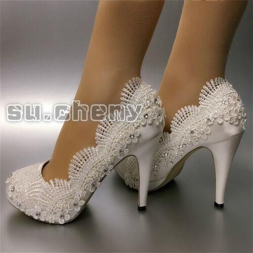 """su.cheny CLOSE toe 3""""4/"""" heel satin flowers white ivory lace Wedding Bridal shoes"""