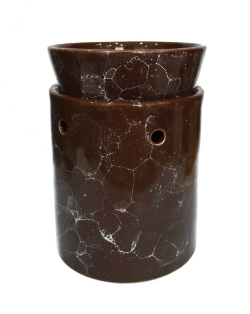 MARBLED MOCHA BROWN Candle//Tart Warmer 2-Piece ELECTRIC