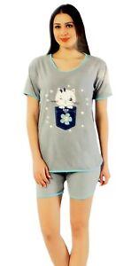 harmonische Farben Outlet-Verkauf Vorschau von Details zu Damen Pyjama kurz Baumwolle Set Nachtwäsche 2tlg Schlafanzug  Sommer Shorty Grau