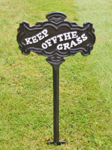 New Keep Off The Grass Outdoor Sign Metal Retro Cast Iron Black Garden Plaque