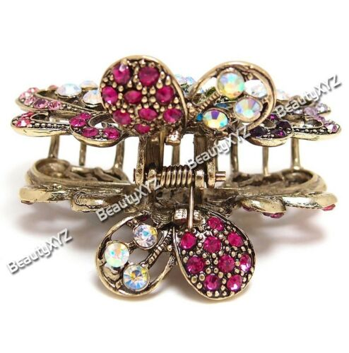 New Whites//colorful Austrian Crystal Metal Roses-butterfly hair claws clips pins