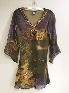 Women-039-s-Printed-Embellished-Polyester-Missy-Size-Tunic-Top-Blouse-S-M-L-XL-NWT