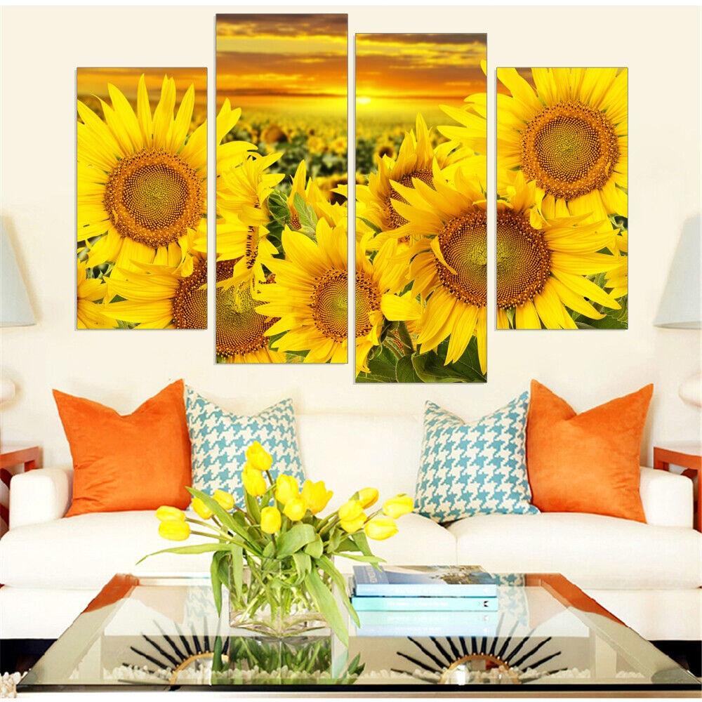 Sunflower Field At Sunset 4 Panel Canvas Print Wall Art Poster