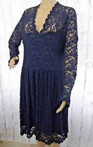 Lili-London-Julie-Curve-Dress-Size-18-Blue-V-Neck-Lace-Midi-Skater-Party-NEW