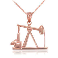 Solid Pure 14k Rose Gold Oil Pump Industry Worker Pendant Necklace