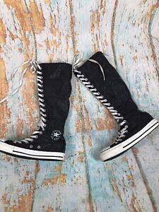 Converse-Chuck-Taylor-All-Star-Knee-Hi-Boots-Lace-up-Glitter-Black-US-7-Rare