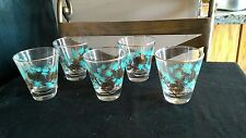 VINTAGE 5 MID CENTURY Promo JUICE GLASSES WITH Turquoise & 24k Gold Pine Cones