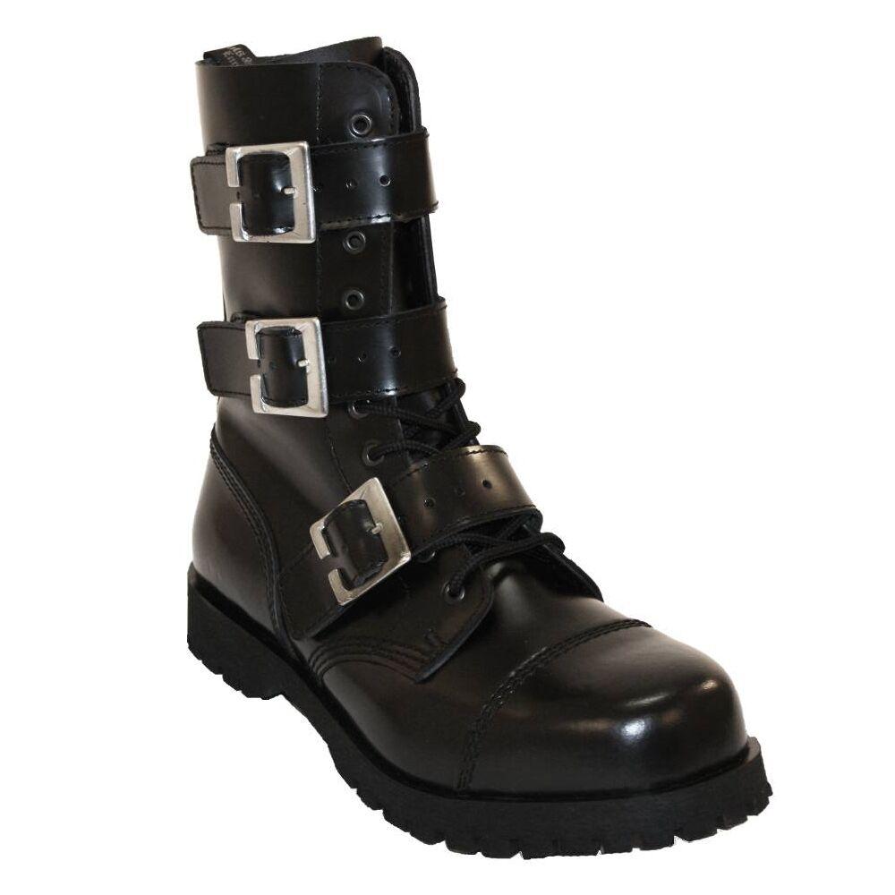 Grandes zapatos con descuento Boots & Braces - 10 Loch 3 Buckle Zip schwarz Stiefel Rangers Schwarz Schnallen