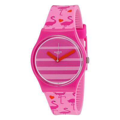 Swatch Miami Peach Pink Stripe Dial Pink Silicone Unisex Watch GP144