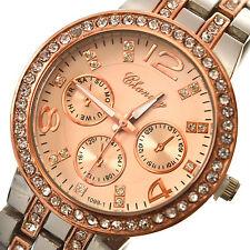 Watch Quartz Wrist Women Crystal Analog Silver & Rose Gold Quartz Wrist Watch