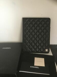 ce44b26845b37d CHANEL Black Caviar Leather Quilted CC Logo iPad Tablet Case Holder ...