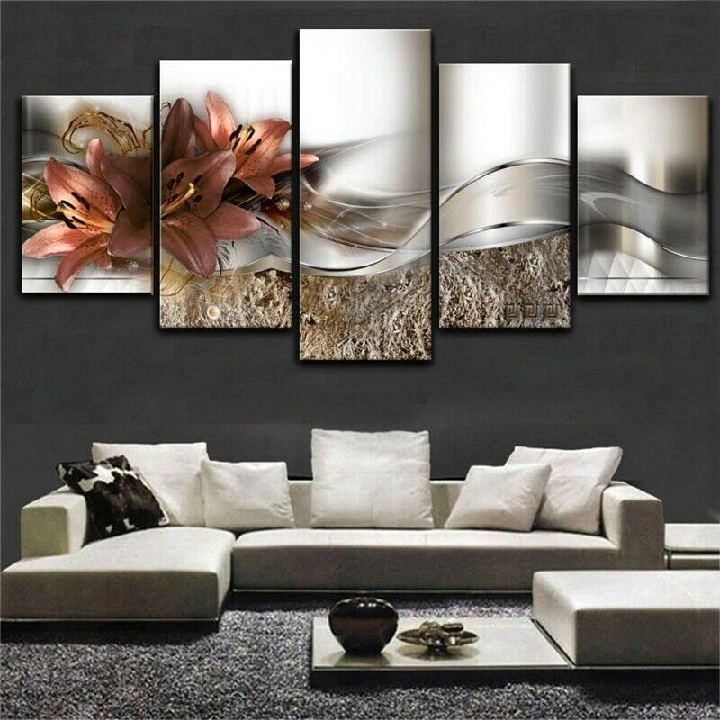 Elegant Lilies Blossom Flower 5 panel canvas Wall Art Home Decor Poster Print
