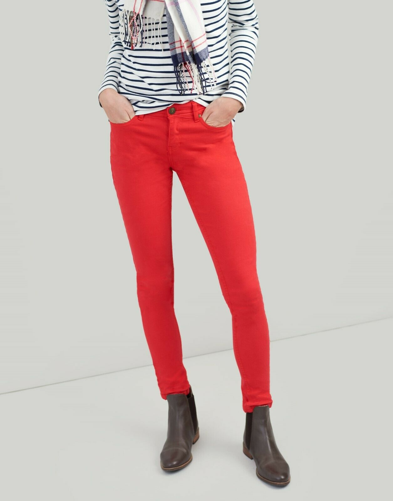 Joules Monroe rot Skinny Stretch Jeans