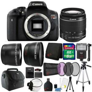 Canon EOS Rebel T6/1300D DSLR Camera 18-55mm Slave Flash and Accessory Bundle 718174972251