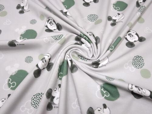 Tela de algodón Jersey Disney Mickey Mouse puntos gris claro verde S//W niños sustancia