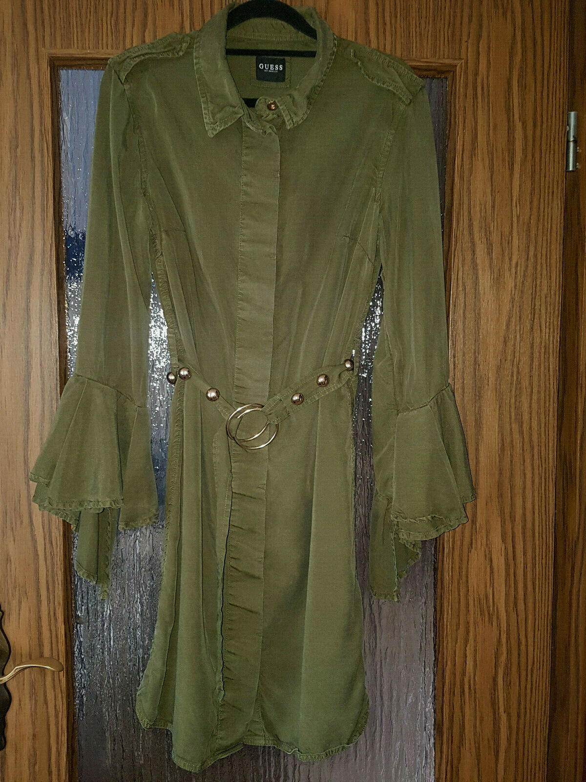 Guess Los Angeles Kleid Armeekleid Hemdkleid Gr. 36 S khaki, oliv grün gelbGold