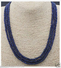 NATURAL 3 Rows 2X4mm FACETED Sapphire Blue Abacus BEADS NECKLACE 18''
