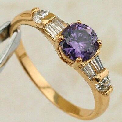 Size 6 7 8 Hot Nice Purple Amethyst  Jewelry Rose Gold Filled Woman Ring R2106