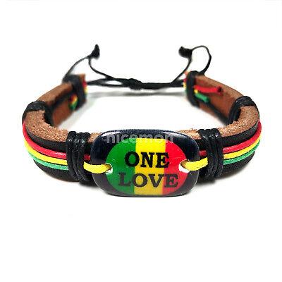Jah Love Reggae IRIE Metal detail Rasta Leather Wrist Cuff  Bracelet Bracelet