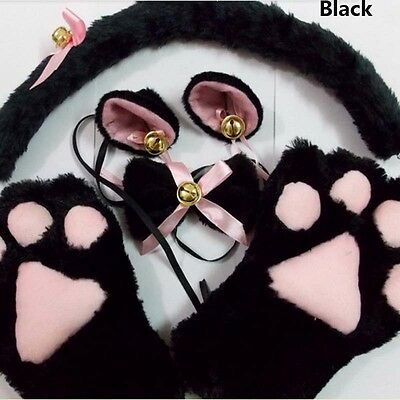 Fashion 1Set Anime Cosplay Costume Cat Ears Plush Paw Claw Gloves Tail Bow-tie