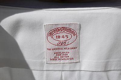 Brooks Brothers '346' 18/34-35 Gentleman's White Non-Iron 'Original Polo' Shirt