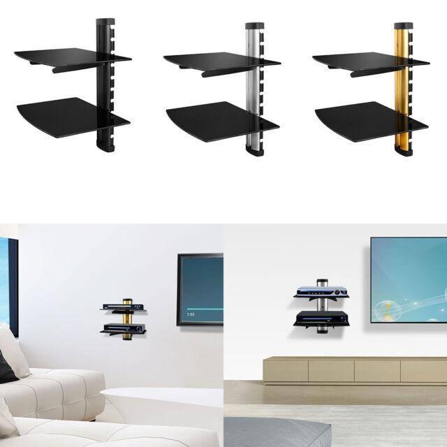 1-2Tier Dual Glass Shelf Wall Mount Bracket Under TV Component Cable Box DVR DVD