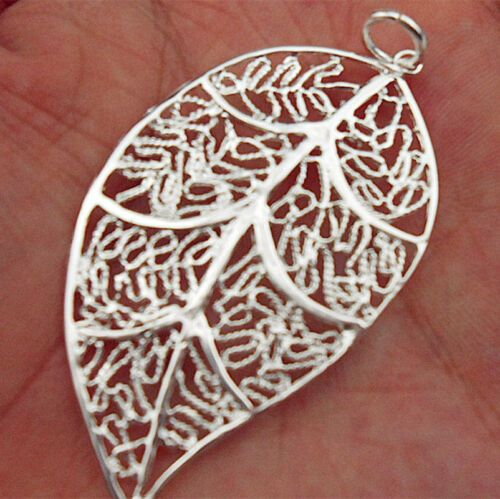 Women 925 Sterling Silver Plated Leaves Flower Pendant Necklace Chain Jewelry ED