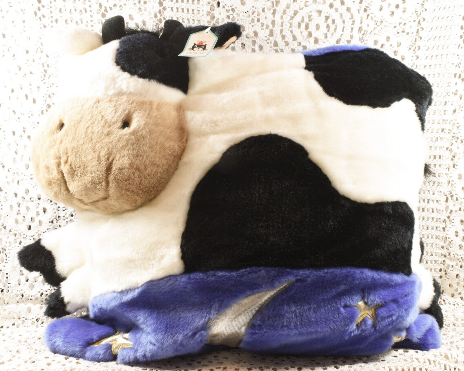 Very Cute Jellycat Large Retired Cow Landscape Cushion CC444