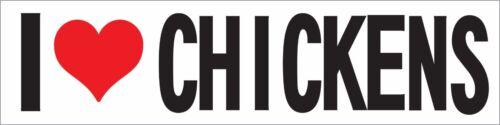 I HEART LOVE CHICKENS BUMPER STICKER VINYL WINDOW DECAL LAPTOP IH-5043